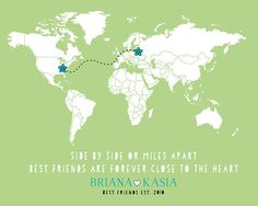 Long Distance Best Friend Gift - 8x10 Custom Map, Flowers, Moving Away, Pen Pals, Charming Quote, Established Date, Birthday Gift for BFF