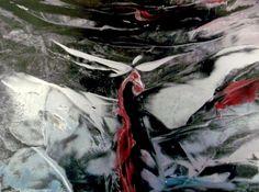 Encaustic auf Papier, schwarzer Hintergrund, SILBER (kommt leider nicht gut auf dem Foto ;-), sehr leuchtend im Original) 21x30 cm, ohne Rahmen Painting, Art, Pictures, Paper, Black Backgrounds, Frame, Abstract, Silver, Painting Art