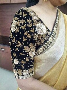 Black Velvet Blouse with Maggam Work | Saree Blouse Patterns Saree Blouse Patterns, Saree Blouse Designs, Blouse Styles, Black Blouse Designs, Hand Work Blouse Design, Zardosi Work Blouse, Black Saree Blouse, Zardozi Embroidery, Embroidery Motifs