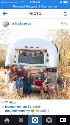 Family photos with a vintage airstream. #vintagecamper #airstream