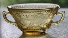 Antique Federal Glass Amber Golden Glo Patrician Spoke Cream Soup Bowl | eBay