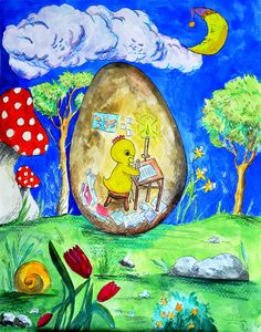 Watercolors Painting of Easter Egg - Baby Chick in Egg Studying