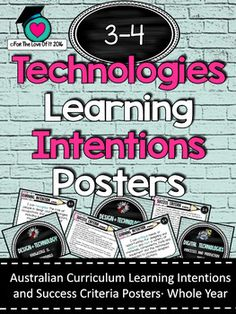 Grades 3-4 -  All Technologies  Learning INTENTIONS/success criteria posters. AC Success Criteria, Learning Goals, Australian Curriculum, Grade 3, Posters, Technology, Design, Learning Targets, Tech
