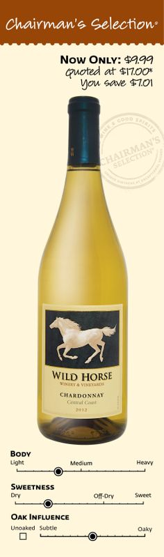 "Wild Horse Central Coast Chardonnay 2012: ""Our 2012 Chardonnay has delicious aromas of lemon and a hint of pineapple. Flavors of green apple and vanilla unfold on the palate with a crisp refreshing finish. Small lots of Verdelho and Malvasia contribute bright acidity and heightened aromatics to the blend. This Chardonnay pairs well with citrusmarinated chicken breast, calamari, or aged cheeses."" *Winemaker's notes. $9.99"