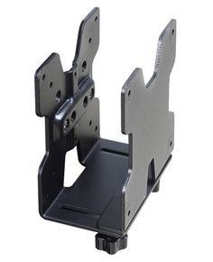 MacMini bracket adapts to the dimensions of the device. Its mounting interface attaches to a variety of surfaces: a VESA plate, directly to a desk, clamped to a pole or fastened to Ergotron Wall Track.