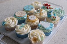 Vintage Alice In Wonderland Baby Shower Cupcakes.