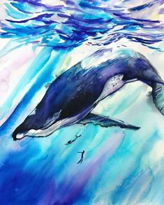 Swimming with the whale original watercolor painting whale Sea Life Art, Watercolour Painting, Acrylic Paintings, Exotic Fish, Wildlife Art, Unique Art, Art Decor, Original Paintings, Awesome