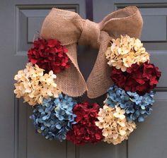 Annual Patriotic Wreath, 4th of July Wreath, Spring Wreath, Hydrangea Wreath, Burlap Wreath, All Season Wreath, American Flag Wreath on Etsy, $70.00