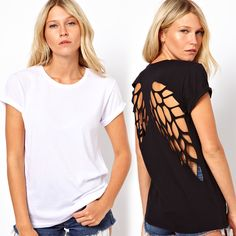 Hollow Out Back Round Collar Short Sleeve T-shirt black white