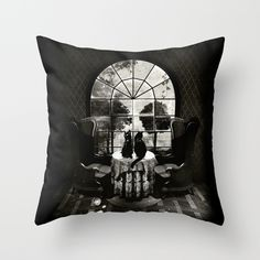 "Room Skull B&W Throw Pillow. Throw Pillow Cover made from 100% spun polyester poplin fabric, a stylish statement that will liven up any room. Individually cut and sewn by hand, the pillow cover measures 16"" x 16"", features a double-sided print and is finished with a concealed zipper for ease of care. Does not include pillow insert."