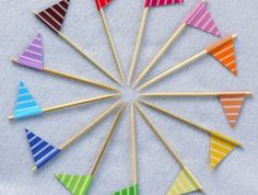 Cupcake Flags Stripes Your Choice of Colors Set of 12