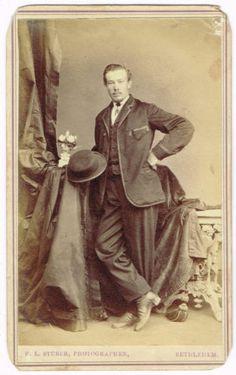 Standing MAN HAT IN Hand IN Bethlehem Pennsylvania BY F L Stuber 1860'S CDV | eBay