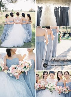 dusty blue colored ethereal bridesmaid dresses for 2015 trends #bridesmaiddresses #elegantweddinginvites #weddingcolors