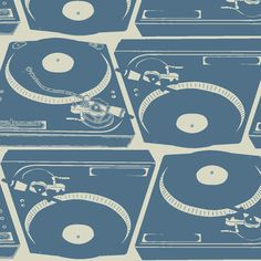 Turntables in blue fabric by sydama on Spoonflower - custom fabric
