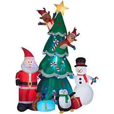 Gemmy Animated Christmas Tree With Santa Reindeer And Snowman Indoor Outdoor Holid Animated Christmas Inflatable Christmas Decorations Animated Christmas Tree