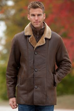 Men's Carter Shearling Sheepskin Coat by Overland Sheepskin Co. (style 12523)