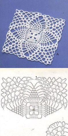 Fashion Tips For Women .Fashion Tips For Women Crochet Applique Patterns Free, Crochet Square Patterns, Crochet Diagram, Crochet Chart, Crochet Squares, Thread Crochet, Filet Crochet, Crochet Granny, Crochet Sunflower