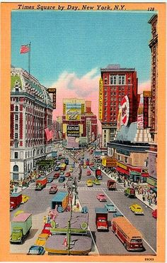 Vintage New York City Postcard: Times Square by Day, New York, N. Y.  Great 1950s linen postcard in excellent condition; this card was never posted, and it doesnt have any writing on the back. Nice colorful & collectible vintage scenic view of Old New York City, showing historic Times Square by Day. This postcard is over 50 years old... a little piece of New York City history!   We try to find good quality scenic postcards that are in the best condition possible for their age. Perfect for...