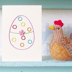 Hand Stitched Egg Card