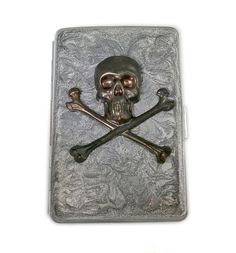 New to EdwardianRenaissance on Etsy: Metal Cigarette Case Oxidized Skull and Crossbones in Hand Painted Metallic Silver Swirl Design Metal Wallet Neo Victorian Inspired (59.00 USD)