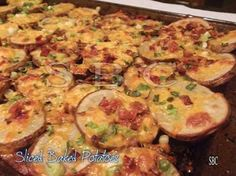 "SLICED BAKED POTATOES!! 4-5 potatoes 4 Tbs butter, melted 4-5 green onions, chopped 1 cup grated cheese of your choice 4 strips of cooked bacon - Slice potatoes about ¼"" thick. Brush both sides of slices with butter; place them on a cookie sheet.  3. Bake in the preheated oven 400° for 30 to 40 minutes or until lightly browned on both sides, turning once. When done, top with bacon, cheese, green onion; continue baking until the cheese has melted; add sour cream."