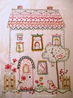 Saturday Stitches: House embroidery. This would be super cute in (you guessed it) bright colors. The house would have to be yellow, of course.