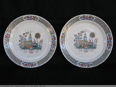 Paire d'assiettes ROUEN - XVIIIème siècle