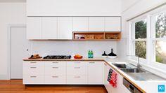 Drawer handles & formply timber edge of bench Kitchen Furniture, Kitchen Interior, Kitchen Design, Kitchen Cabinet Doors, Kitchen Cabinets, Kitchen Benches, Quality Kitchens, Cabinet Makers, Drawer Handles