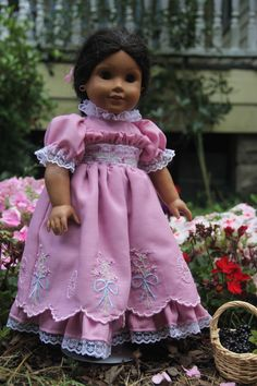 Lilac ruffled dress with Kathy Harrison designs, American girl doll clothes. Sewn on my Ellisimo babylock machine  https://stitchingwithelli.wordpress.com/2016/05/20/josephinas-lilac-dress/