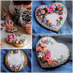 How to decorate floral cookies. Beautiful Cookies for Special Friend🌼 Fancy Cookies, Valentine Cookies, Iced Cookies, Cute Cookies, Easter Cookies, Holiday Cookies, Sugar Cookies, Cookies Et Biscuits, Valentines