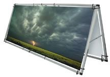 """Monsoon Outdoor Banner Display. Large format banner """"A"""" frame."""