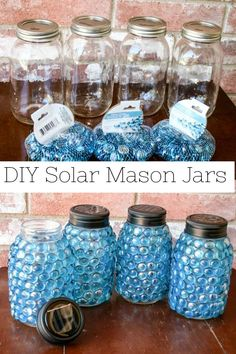 DIY Solar Mason Jars to do when bored crafts jar crafts crafts Diy Solar, Solar Light Crafts, Mason Jar Projects, Mason Jar Crafts, Diy Crafts With Mason Jars, Pickle Jar Crafts, Uses For Mason Jars, Decorating With Mason Jars, Patio Decorating Ideas On A Budget