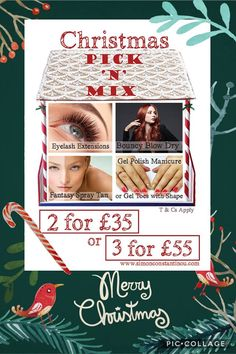Christmas Pick n Mix: 2 for £35 or 3 for £55 * Eyelash Extensions: last up to 3 weeks * Bouncy Blowdry * Fantasy Spray Tan: Fully body. * Gel Nail Polish: Lasts up to 3 weeks * Gel Toe Nail Polish: Lasts up to 3 weeks  Call 02920461191   T&Cs: Offer finishes close of business 31st December 2016. Offer can be purchased in December as a gift voucher to use in 2017. Beauty services are for clients over 16 years old. Offer subject to availability. Blow Dry is with a Senior Stylist.