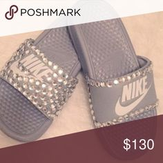 Bedazzled NIKE Slides Authentic Nike Slides Style: Bedazzled Fit: True to size Primary color: Grey or White (you choose) Size variation: All  Condition: Brand New, original box & tags. All inventory comes direct from Nike. I use Swarovski crystals that create a beautiful sparkle every way you turn. All items are handcrafted with my detailing that creates a no gap, clean look  PROCESSING TIME: 1-3 business days. Any questions ? Feel free to contact me at- amgelinalove1210@gmail.com Nike Shoes Nike Slides, Processing Time, Primary Colors, In This World, Swarovski Crystals, Gap, Sparkle, Bling, Create