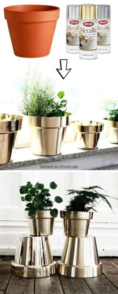 17 Creative Ideas to Decorate with Terra Cotta Flower Pots DIY Metallic Flower Pots. Spray paint the low-cost terra cotta pots in metallic colors to get an expensive look for your decor! Craft Projects, Projects To Try, Spray Paint Projects, Garden Projects, Terracotta Flower Pots, Painting Terracotta Pots, Creation Deco, Ideias Diy, Deco Floral