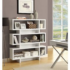 ... Modern Bookcase White, 3 Fixed Shelves Offer A Variety Of Storage  Options, Made Of MDF Laminate And Particleboard For A Sturdy Frame At Office  Depot ...