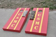 USMC Cornhole board with camo bags. Once A Marine, My Marine, Marine Corps, Usmc Love, Flag Display Case, Cornhole Designs, Award Display, Welcome Home Parties, Man Of The House