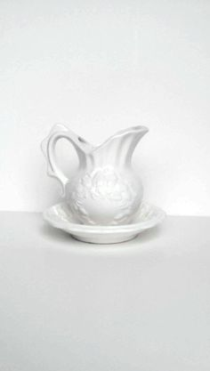 Vintage pitcher and basin set White milk glass pitcher