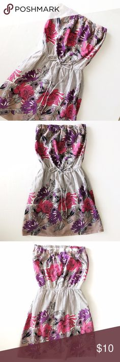 "Wet Seal Floral Strapless Tube Dress Wet Seal Pink + Purple Floral Strapless Tube Dress//Features: Size Small, 100% Cotton, Elastic Waist Band with Tie, Beadwork, Sewn in Slip//Size Small//Good Condition with normal wear and small pull along btm about 1"" length (see pic)...appears to be a defect in fabric, but nothing crazy👍🏻//Great festival dress, bathing suit cover-up or for wear on any hot summer day//Let me know if you need add'l info or pics✌🏻 Wet Seal Dresses Strapless"