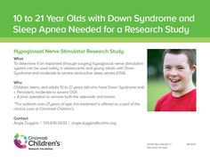 We want to determine if an implanted (through surgery) hypoglossal nerve stimulation system can be used safely in adolescents and young adults with Down Syndrome and moderate to severe obstructive sleep apnea (OSA). #Sleepapnearemedies