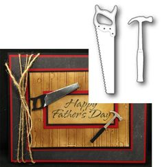 Carpenter Tools Metal Die Memory Box Cutting Dies Hammer Saw Carpenter 99396 873980993965 Memory Box Cards, Memory Box Dies, Boy Cards, Kids Cards, Men's Cards, Fathers Day Cards, Happy Fathers Day, Card Making Templates, Scrapbook Paper Crafts