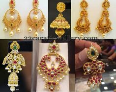 Jewellery Designs: Traditional Gold Jhumkas Pachi Earrings