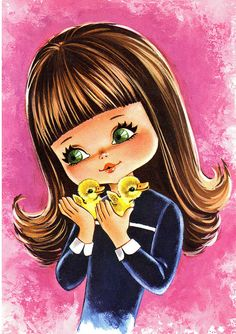 Big Eyed Girl Vintage Postcard