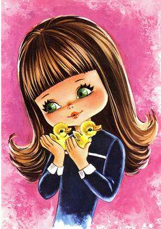 Big Eyed Girl Vintage Postcard