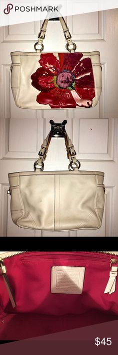 Coach purse Coach purse approximately 10 years old. Shape is no longer stiff. Leather is white and decently clean. Flowers are suede. Coach Bags Totes