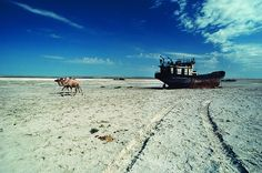 Dried Up Seabed The Aral Sea has lost two-thirds of its volume because its source rivers were diverted for cotton irrigation during the Soviet era. Once the fourth-largest lake in the world, it is now a dusty graveyard of rusting shipwrecks.