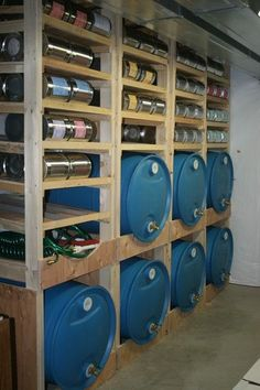 Cooking With My Food Storage: Where Do I Put My Food Storage? Awesome water storage rack with FREE plans