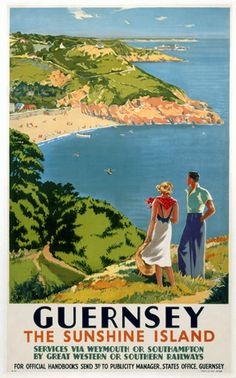 Guernsey GWR SR poster 1938 Vintage travel poster produced for Great Western Railway GWR and Southern Railway SR to promote rail travel to Guernsey Posters Uk, Railway Posters, Poster Prints, Train Posters, Retro Posters, Art Print, Guernsey Island, Guernsey Channel Islands, British Travel
