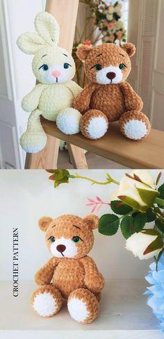Halloween Crochet Patterns, Crochet Toys Patterns, Stuffed Toys Patterns, Crochet Ideas, Crochet Rabbit, Dog Crochet, Plush Pattern, Free Pattern, Crochet Monsters
