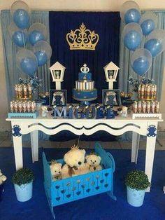 Baby shower boy prince royal New Ideas Shower Party, Baby Shower Parties, Baby Shower Games, Baby Boy Shower, Prince Birthday Party, Prince Party, Royal Baby Showers, Baby Shawer, Party Decoration